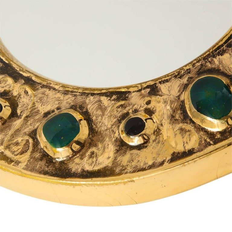 Glazed Francois Lembo Mirror, Ceramic, Jeweled, Gold, Emerald Green, Signed For Sale