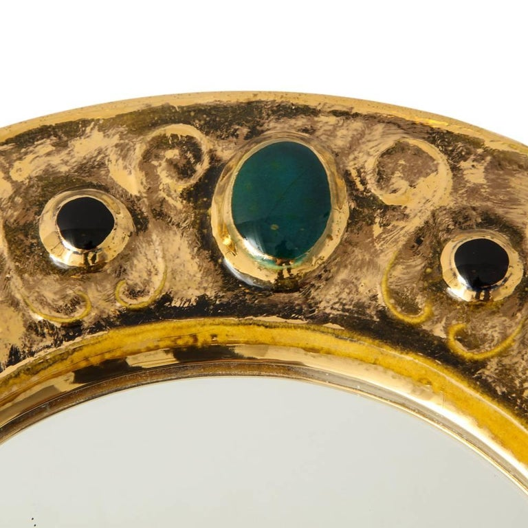Francois Lembo Mirror, Ceramic, Jeweled, Gold, Emerald Green, Signed In Good Condition For Sale In New York, NY