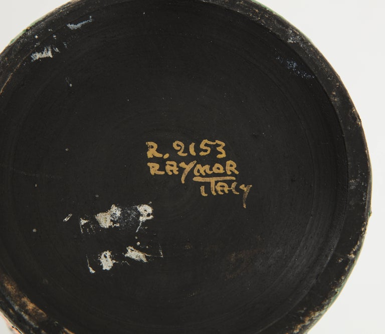 Alvino Bagni for Raymor Vase, Ceramic, Orange, Green, Brown, Signed For Sale 2
