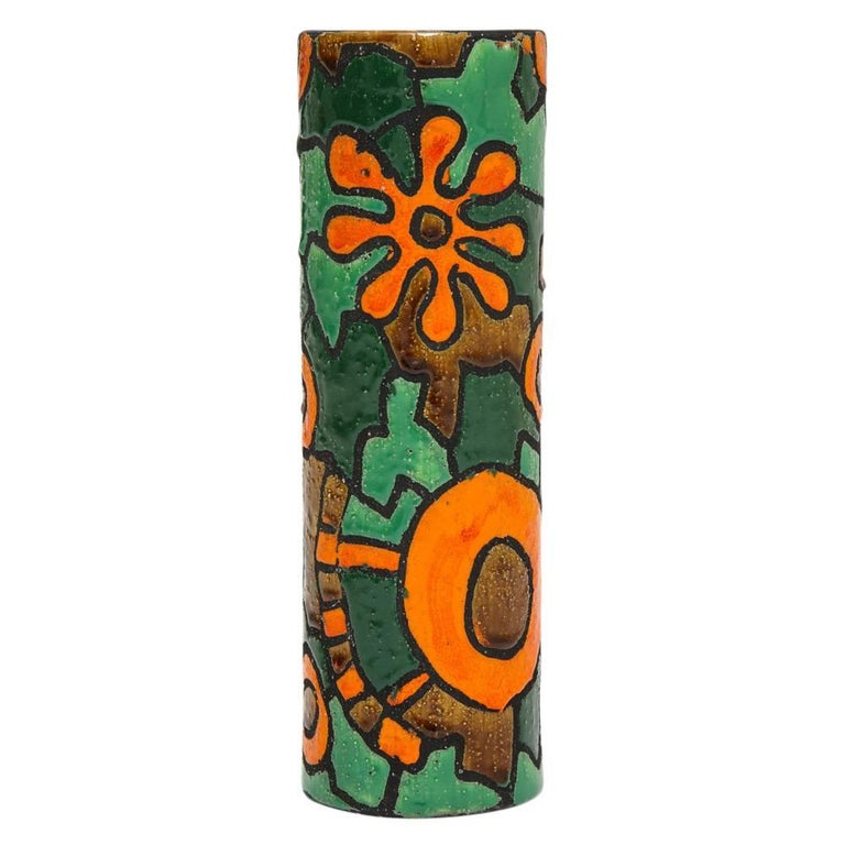 Alvino Bagni for Raymor vase, ceramic, orange, green, brown, signed. Tall cylinder vase with a subtle textured sand glaze of bright orange, green, and an earth tone brown. Designed by Alvino Bagni of Florence and distributed by Raymor worldwide.
