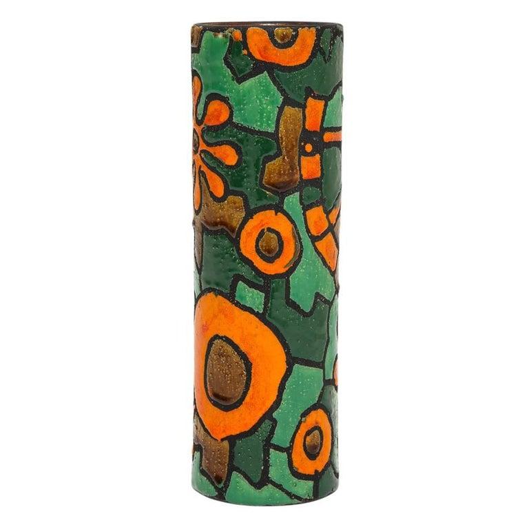 Mid-Century Modern Alvino Bagni for Raymor Vase, Ceramic, Orange, Green, Brown, Signed For Sale