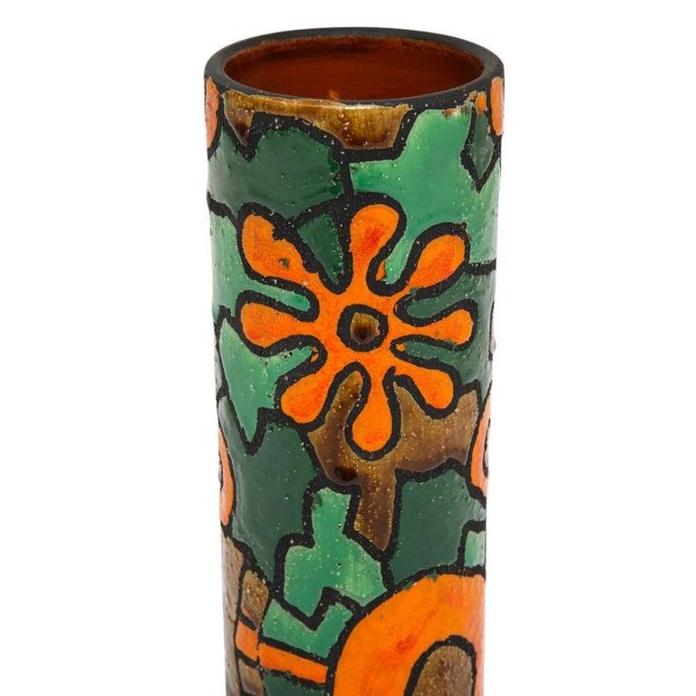 Alvino Bagni for Raymor Vase, Ceramic, Orange, Green, Brown, Signed In Good Condition For Sale In New York, NY