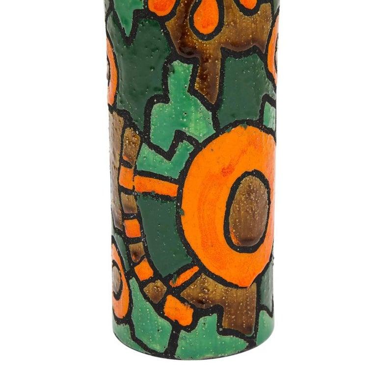 Alvino Bagni for Raymor Vase, Ceramic, Orange, Green, Brown, Signed For Sale 1