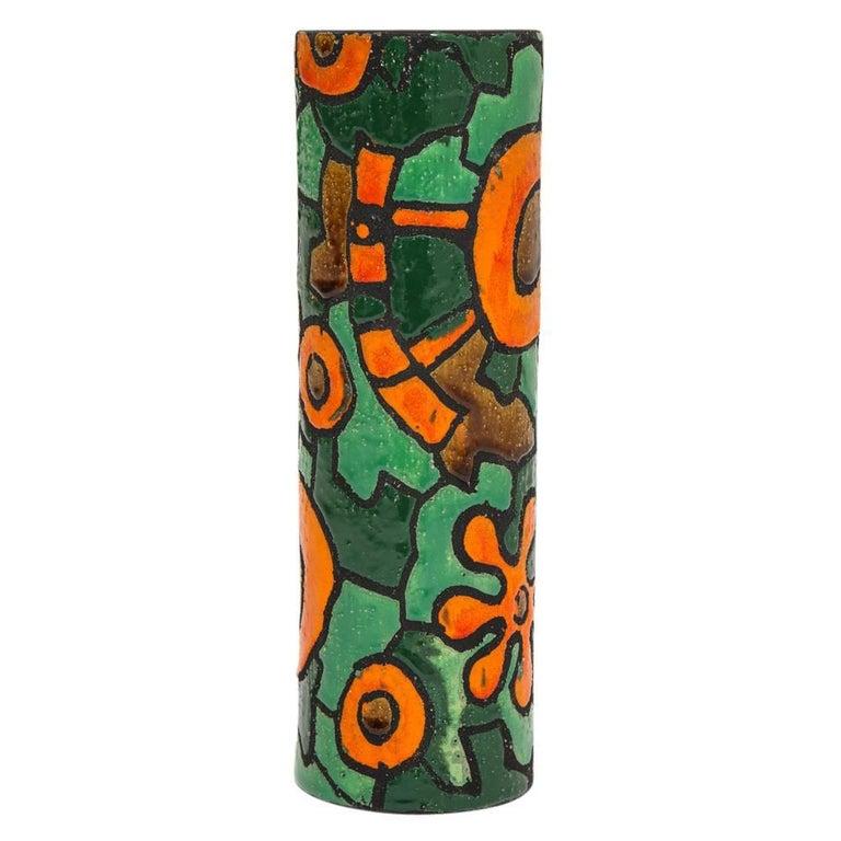 Italian Alvino Bagni for Raymor Vase, Ceramic, Orange, Green, Brown, Signed For Sale