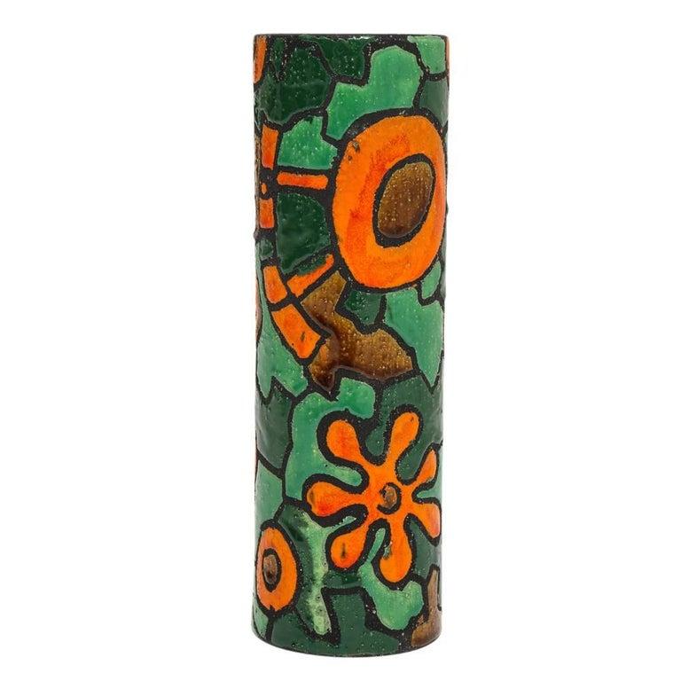 Glazed Alvino Bagni for Raymor Vase, Ceramic, Orange, Green, Brown, Signed For Sale