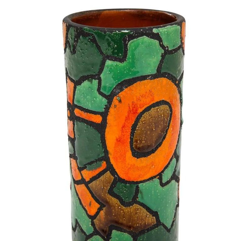 Mid-20th Century Alvino Bagni for Raymor Vase, Ceramic, Orange, Green, Brown, Signed For Sale