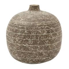 Claude Conover Ceramic Vase Black Incised Licil Signed, USA, 1960s