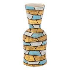 Ceramic Vase Blue Gold White Mosaic Geometric Pottery Signed, Italy, 1960s