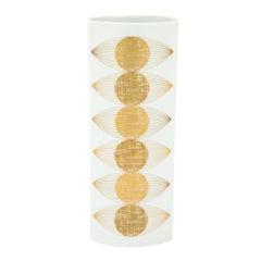 Fürstenberg Porcelain Vase Gold White Signed Germany, 1960s