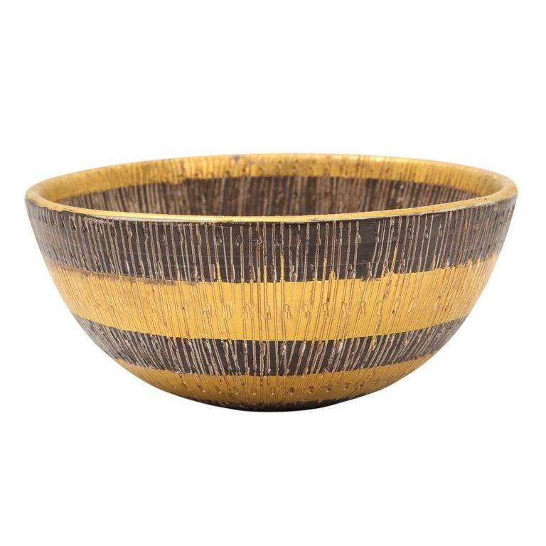 Bitossi Ceramic Bowl Gold Seta Bowl Signed, Italy, 1960s