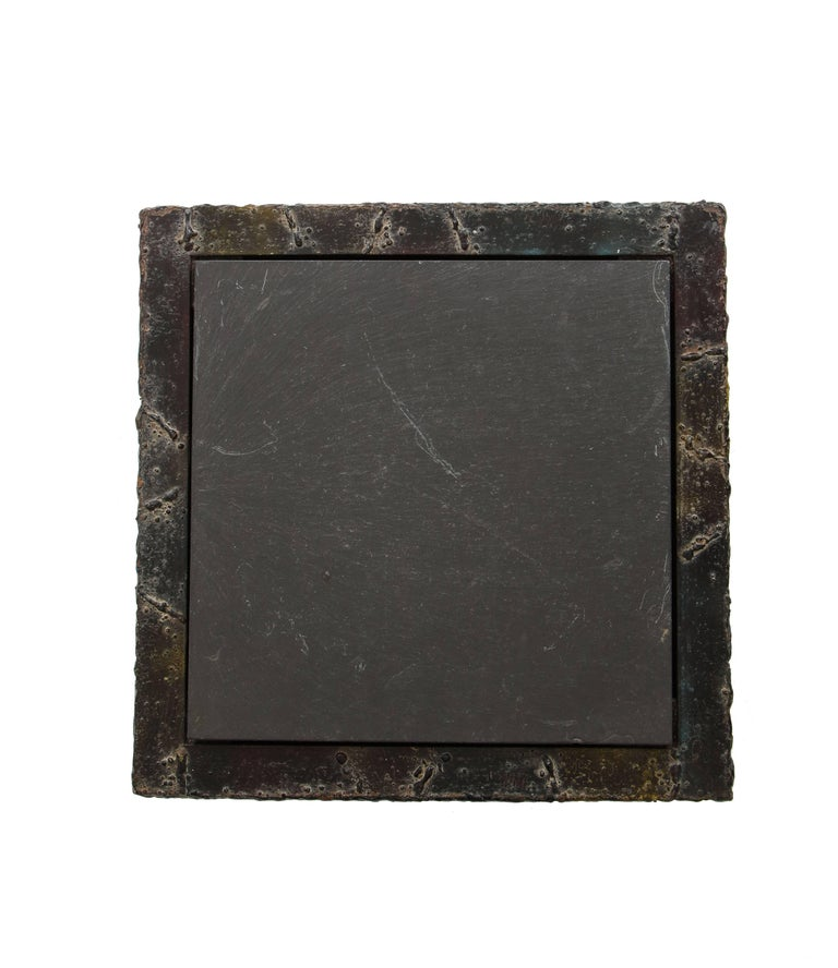 Paul Evans Side Table Sculpted Metal Cube Slate Steel Bronze Signed, USA, 1960s In Good Condition For Sale In New York, NY