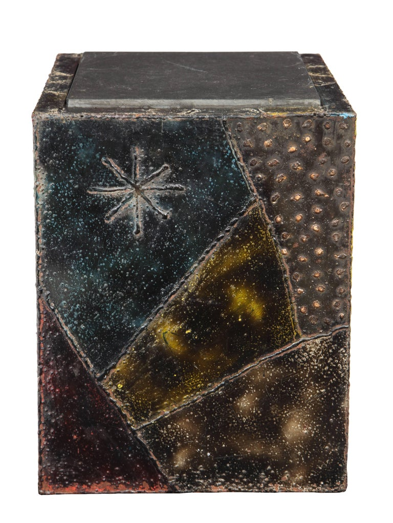Mid-Century Modern Paul Evans Side Table Sculpted Metal Cube Slate Steel Bronze Signed, USA, 1960s For Sale