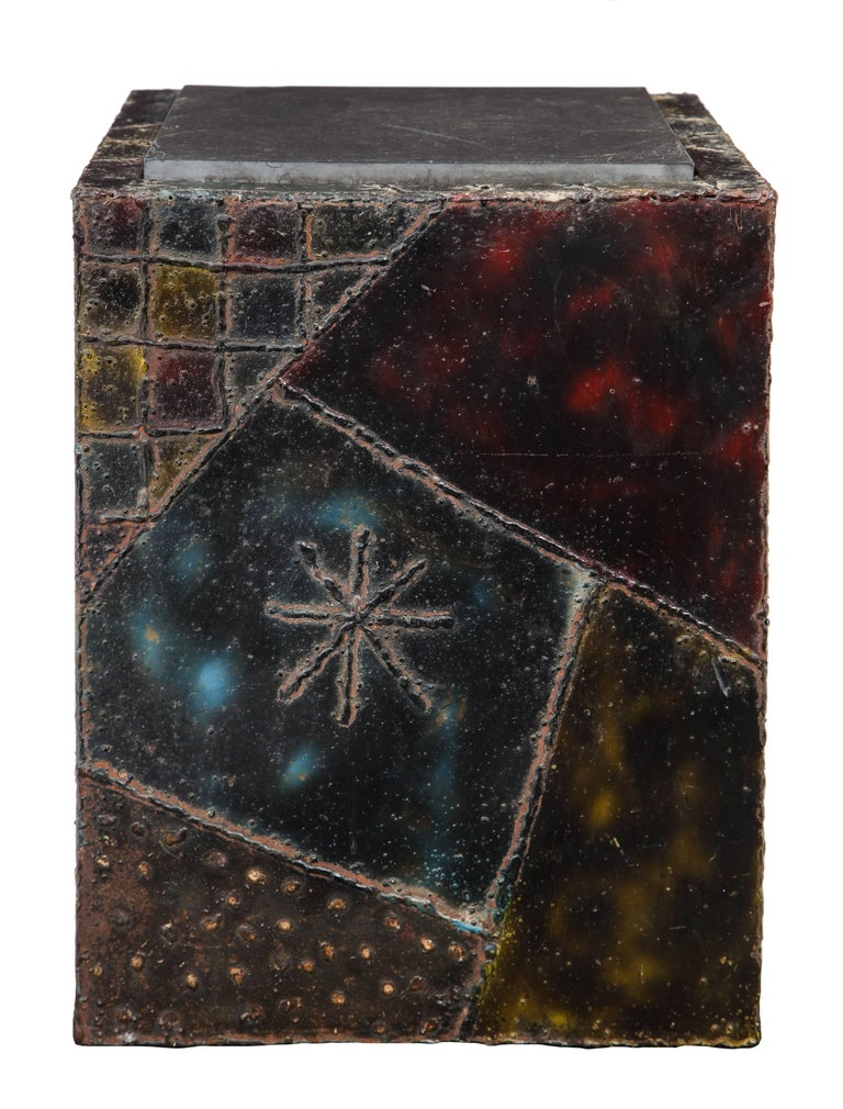 American Paul Evans Side Table Sculpted Metal Cube Slate Steel Bronze Signed, USA, 1960s For Sale