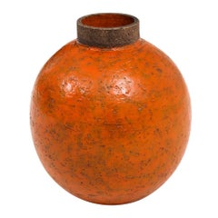 Bitossi Raymor Ceramic Vase Orange Brown Round Pottery Signed, Italy, 1960s