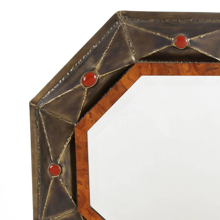 Elegant beveled corners mirror by jacques duval brasseur for Miroir 3 pans