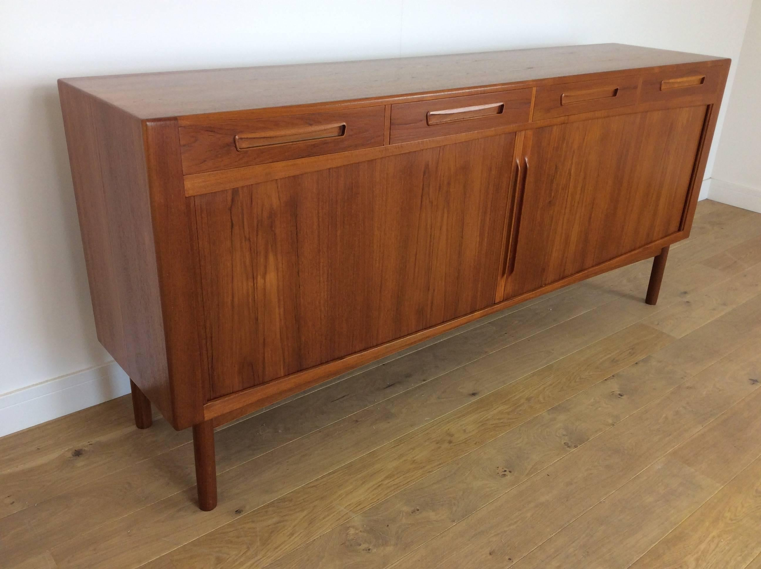 Danish Office Credenza : Midcentury sideboard credenza with tambour doors by arne hovmand