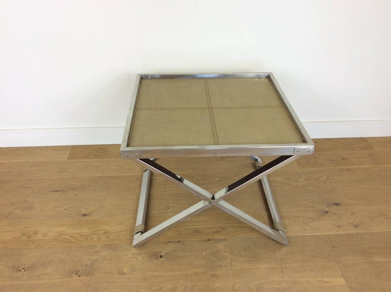 Mid-Century Modern Midcentury Polished Chrome X-Frame Tables with Inset Shagreen Tops For Sale