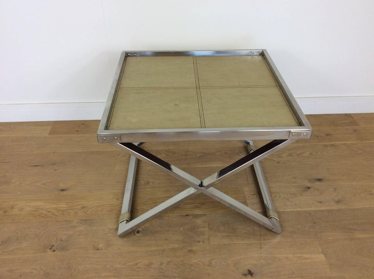 Midcentury Polished Chrome X-Frame Tables with Inset Shagreen Tops For Sale 2