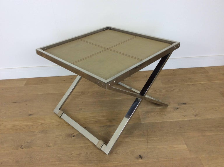 Midcentury Polished Chrome X-Frame Tables with Inset Shagreen Tops For Sale 1