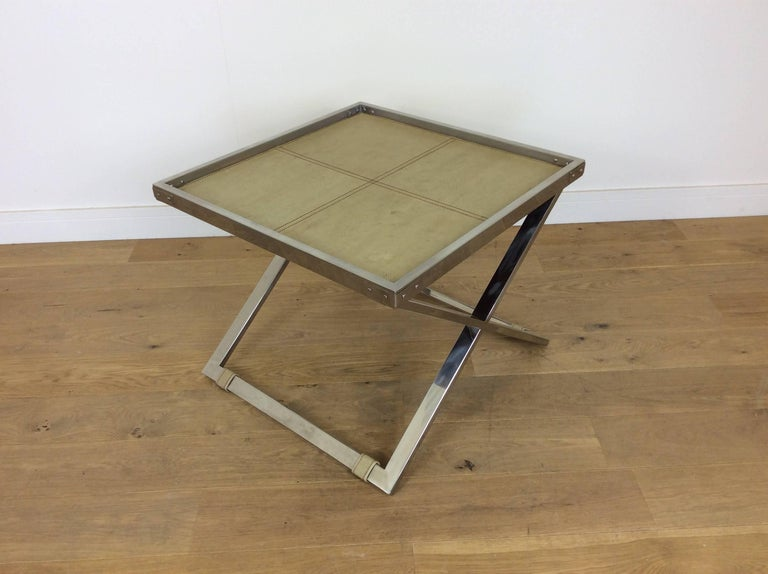 Midcentury Polished Chrome X-Frame Tables with Inset Shagreen Tops For Sale 4