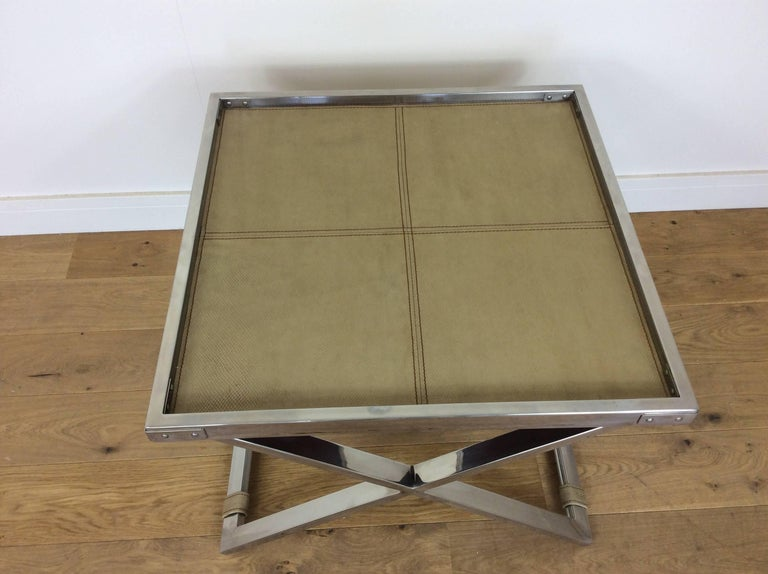 French Midcentury Polished Chrome X-Frame Tables with Inset Shagreen Tops For Sale
