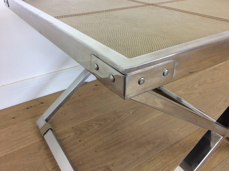 20th Century Midcentury Polished Chrome X-Frame Tables with Inset Shagreen Tops For Sale