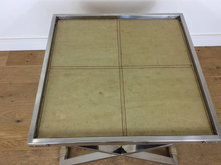 Midcentury Polished Chrome X-Frame Tables with Inset Shagreen Tops For Sale 3