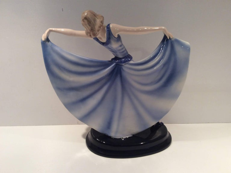 Porcelain Art Deco Goldscheider Figure of a Dancing Girl For Sale