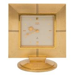 Mid-Century Modernist Gilt Bronze and Enamel 8 Day Clock by Oris