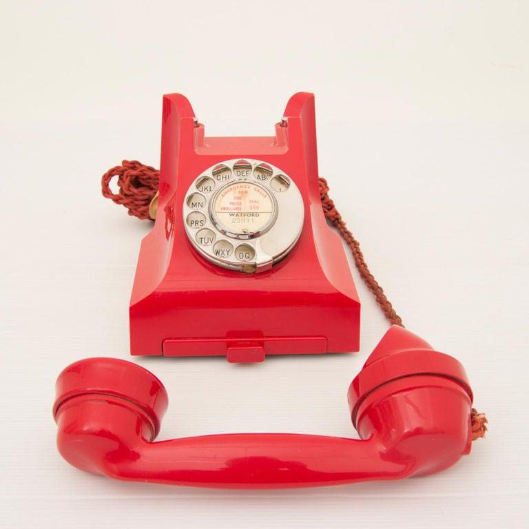20th Century Art Deco Red Bakelite Telephone For Sale