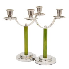Pair of Art Deco Twin Branch Candlesticks with Green Bakelite Columns