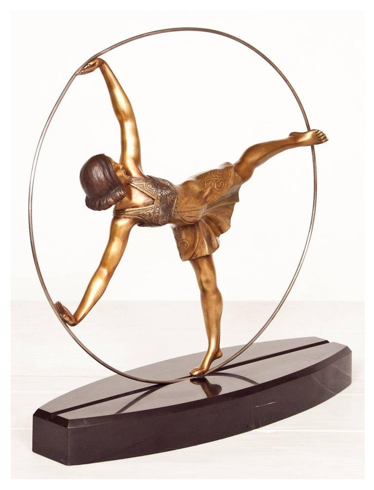 French Art Deco Bronze Figure of a Hoop Dancer by Alexandre Kelety For Sale