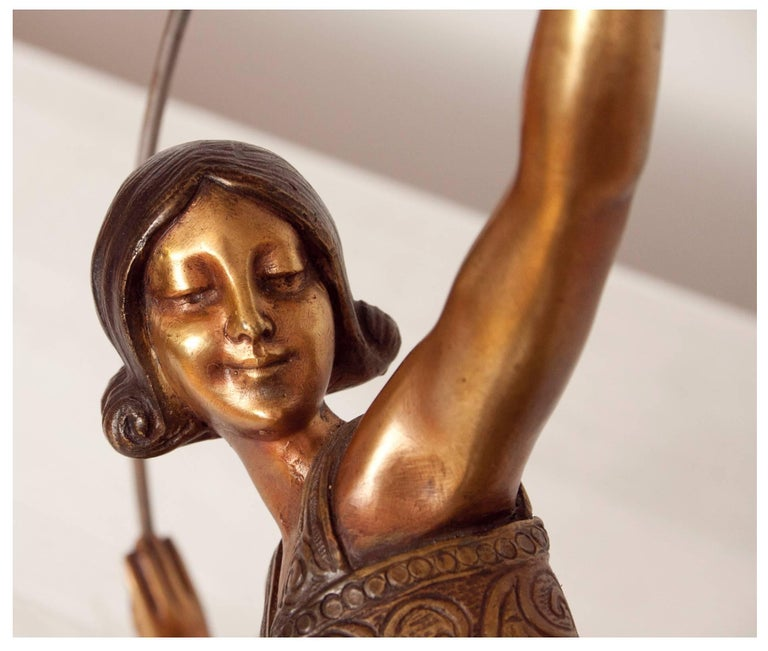 Art Deco Bronze Figure of a Hoop Dancer by Alexandre Kelety In Good Condition For Sale In London, GB