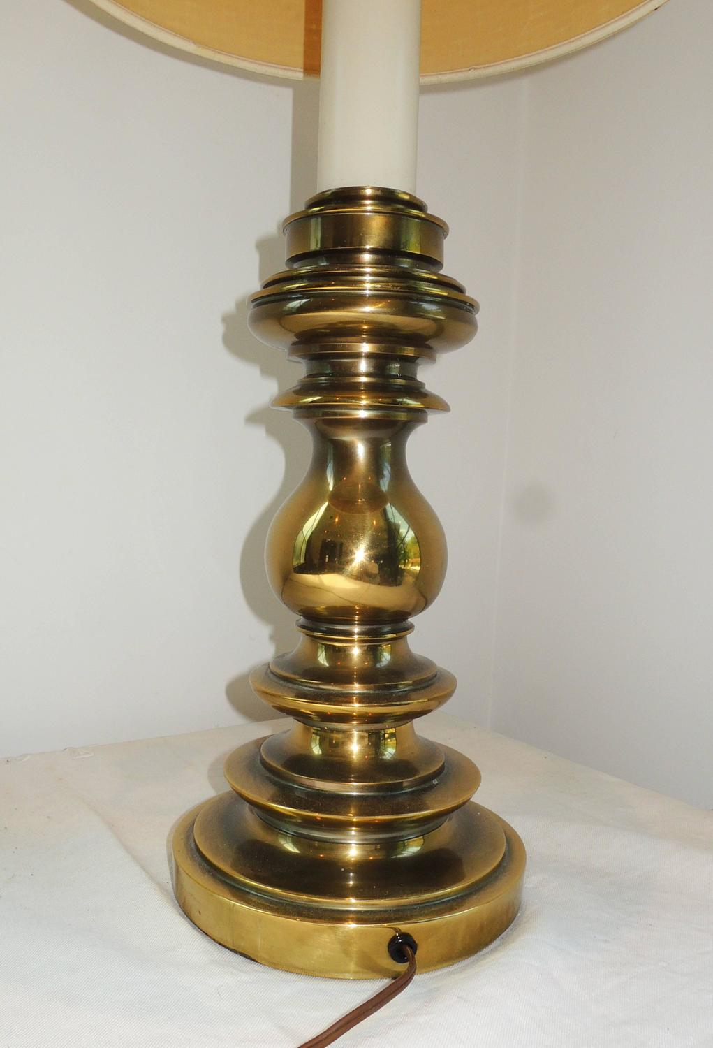 Brass Candlestick Stiffel Table Lamp For Sale at 1stdibs