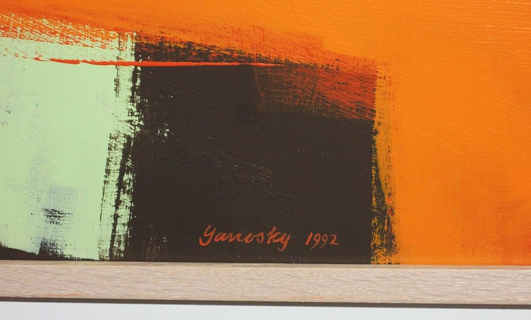 Abstract acrylic on canvas by Thomas Yanosky (Am. 1918-2014), signed and dated May 1992. Titled