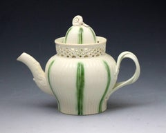 Antique English creamware pottery teapot with green stripes .late 18th century