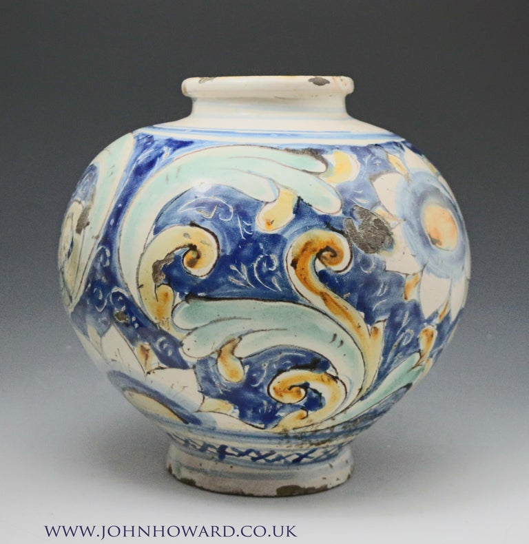 A caltagirone pottery earthenware maiolica jar, 16th century.