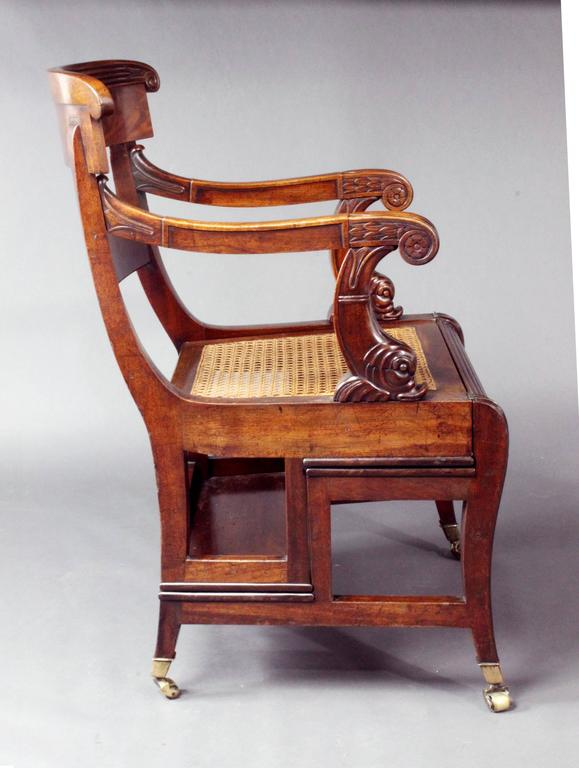 Regency Mahogany Metamorphic Library Chair For Sale 1