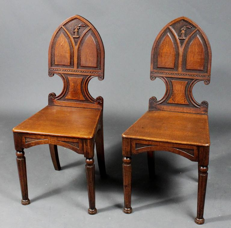 Gothic Revival Pair of Antique Hall Chairs For Sale - Pair Of Antique Hall Chairs For Sale At 1stdibs