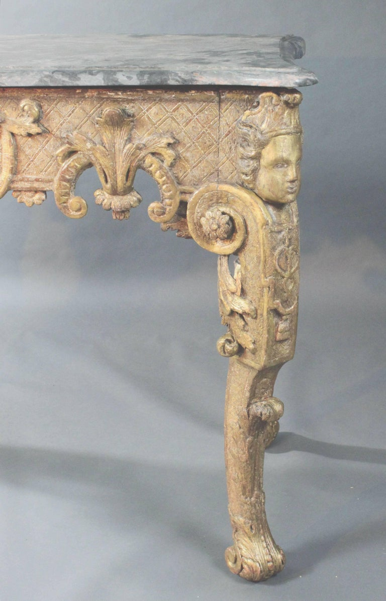 Giltwood Late 17th Century Gilt wood Console Table For Sale