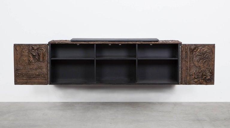 1960s Braun Bronze Harz Wand-Sideboard by Paul Evans 4