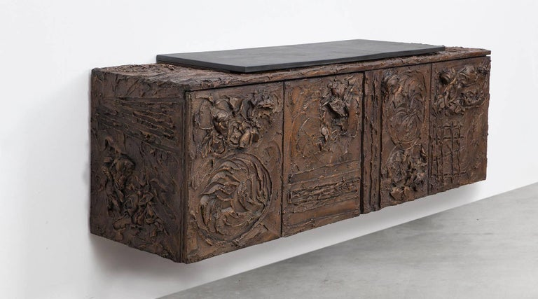 1960s Braun Bronze Harz Wand-Sideboard by Paul Evans 6