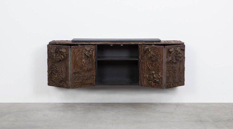 1960s Braun Bronze Harz Wand-Sideboard by Paul Evans 3