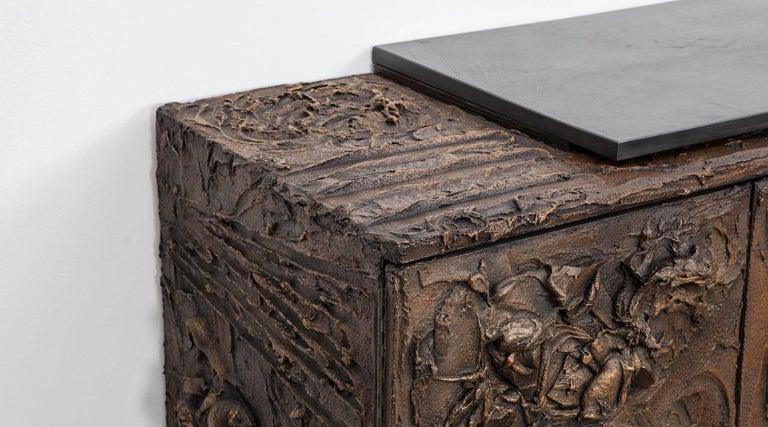 1960s Braun Bronze Harz Wand-Sideboard by Paul Evans 5