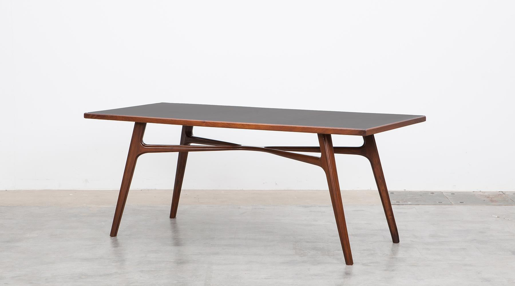 Dining Table With Linoleum Top, Walnut Base, Italy, 1955. Incredible Italian  Dining