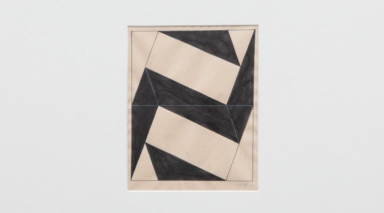 Pencil and ink on paper in black and warm white by Lygia Clark, signed, 1952, Brazil.  The drawing by Lygia Clark comes in a wooden frame. The originality is marked by the signature, as well as the year of origin. The drawing itself has the size