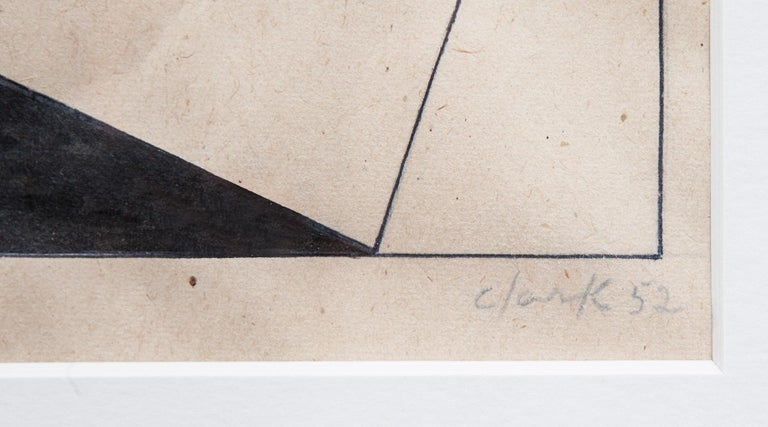 Brazilian 1950s Black and Grey Drawing by Lygia Clark For Sale