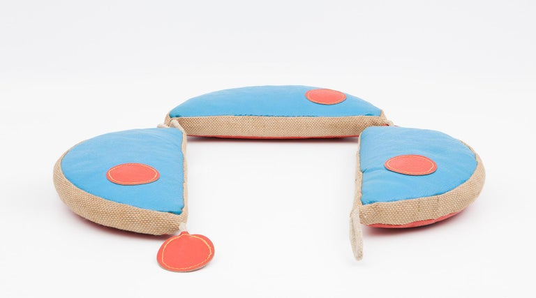 Three play pillows, children toys in jute and leather by Renate Müller, Germany, 1971.  Authentic animal toy from the 1970s by Renate Müller. Unique in shape and workmanship. This example shows three pillows in the shape of a mouse made of jute