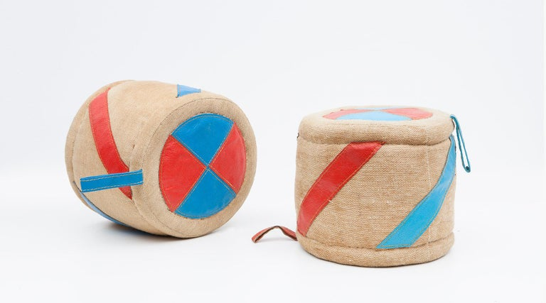 Two rolls, children toy in jute and leather by Renate Müller, Germany, 1972.  Authentic children toy from the 1970s by Renate Müller. Unique in shape and workmanship. This example shows two rolls in a shape of drums and made of jute and leather