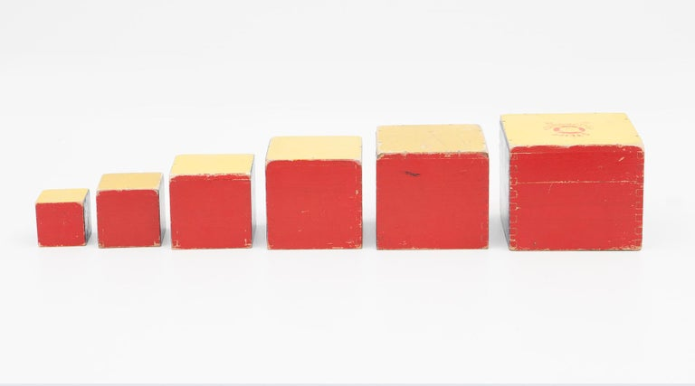 Mid-Century Modern 1950s Colorful Wooden Cube Set Made in West Germany by Steiff For Sale